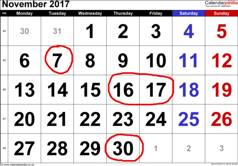 ACMP November dates